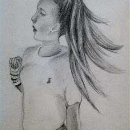drawing drawn draw art artist pencil followme follow likeforlike followback bestdrawing girl runing hair beauty